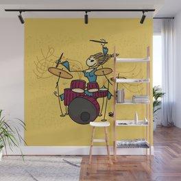 Crazy drummer Wall Mural