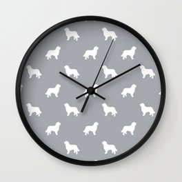Bernese Mountain Dog pet silhouette dog breed minimal grey and white pattern Wall Clock