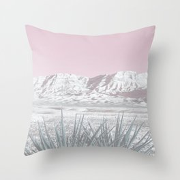 Mojave Snow // Red Rock Canyon Las Vegas Desert Landscape Light Pink Sky Vintage Photography Throw Pillow