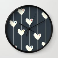 calendars Wall Clocks featuring Heart  by Shabby Studios Design & Illustrations ..