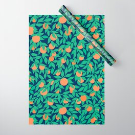 Oranges and Leaves Pattern - Navy Blue Wrapping Paper