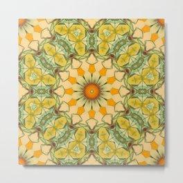 American Gold Floral Motif Metal Print