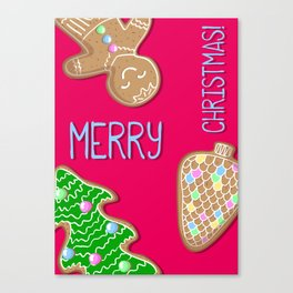 Merry Christmas Pink Poster with Gingerbread Cookies Canvas Print