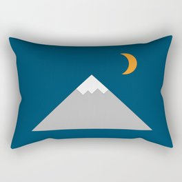 Mountain and Crescent Moon Illustration Rectangular Pillow