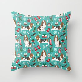 Basset Hound christmas pattern print pet friendly dog breed art for holiday decor Throw Pillow