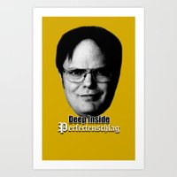 dwight Art Prints featuring Dwight - Perfectenschlag by Thomas Rolfe