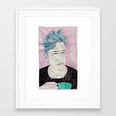 David Lynch drinking coffee. Framed Art Print