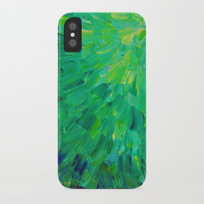 SEA SCALES in GREEN - Bright Green Ocean Waves Beach Mermaid Fins Scales Abstract Acrylic Painting iPhone Case