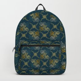 Ornamental Fall Floral Seamless Vector Pattern Background Backpack