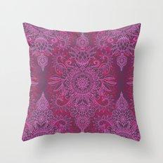 Magenta, Pink & Coral Protea Doodle Pattern Throw Pillow
