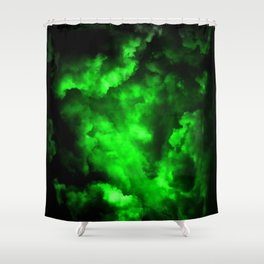 Envy - Abstract In Black And Neon Green Shower Curtain