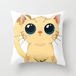 Funny Cat with Cute Big Eyes T Shirt Throw Pillow