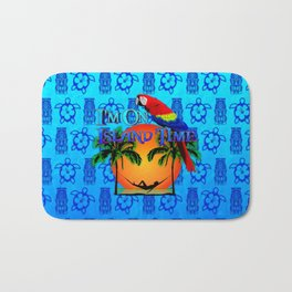 Blue Tikis Island Time And Parrot Bath Mat