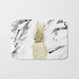 Gold Pineapple on Marble Bath Mat