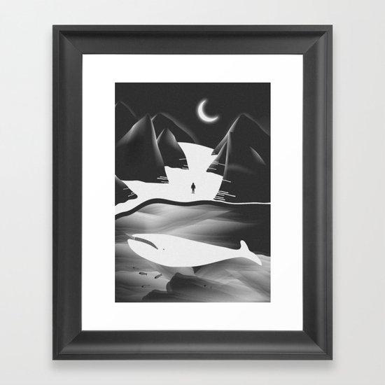 Moon, Boy & The Whale Framed Art Print