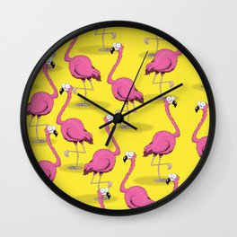 Flamingo bird cartoon pattern Wall Clock