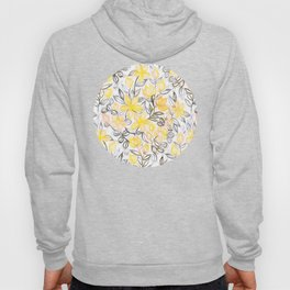 Sunny Yellow Crayon Striped Summer Floral Hoody