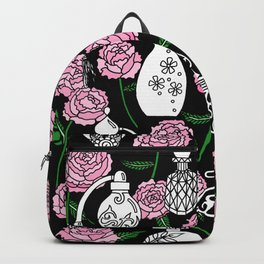 Perfume and Peonies Black and White Backpack