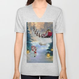 Christmas, snowman with Santa Claus Unisex V-Neck