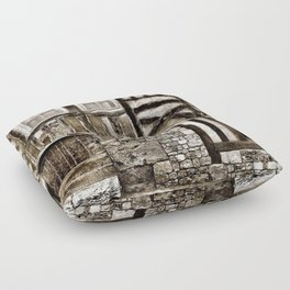 Rustic Old Wood and Stone House Floor Pillow