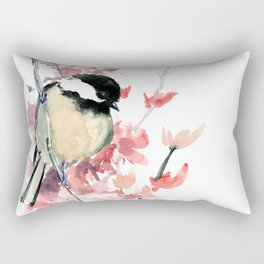 Chickadee and Cherry Blossom Rectangular Pillow