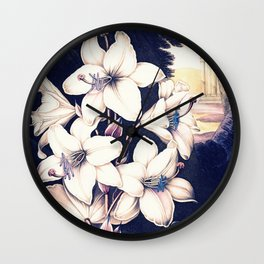 Deep Pastels The White Lily Temple of Floral Wall Clock