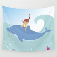 dolphin Wall Tapestries featuring Dolphin by Avondster