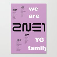2ne1 Canvas Prints featuring we are YG: 2NE1 by Jose López