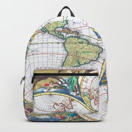 World map wall art 1690 dorm decor mappemonde Backpack