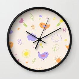 Cute Birds Pattern. Light Version Wall Clock