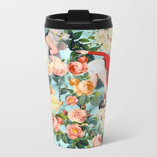 Floral and Pin Up Girls II Pattern Metal Travel Mug
