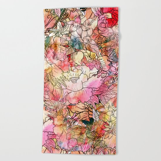 Summer Flowers | Colorful Watercolor Floral Pattern Abstract Sketch Beach Towel