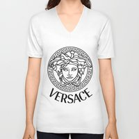 versace V-neck T-shirts featuring Versace Noir by Goldflakes