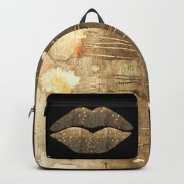 Golden Motes Kissing Lips Backpack