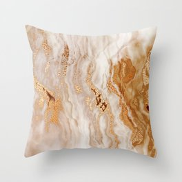 Glamorous Gold Glitter Vein Marble With Copper Sparkles Throw Pillow