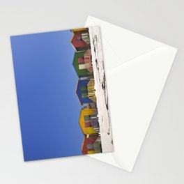 Colourful beach huts on the beach in Muizenberg, South Africa Stationery Cards