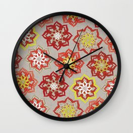 Multi Red Flowers Wall Clock