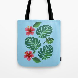 Hibiscuses and Palm Leaves Tote Bag