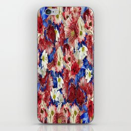 Red White Blue Flora iPhone Skin