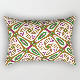 Retro Nature Leaf Geometric - Brown Green Geo 1 Rectangular Pillow