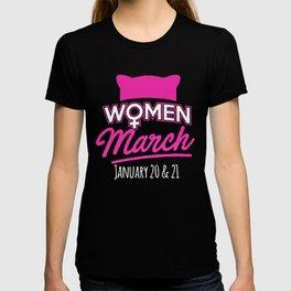 Women March January 2018 Pussycat Ears Hat Women's March T-shirt