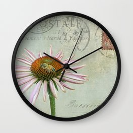 coneflower & bee postale Wall Clock