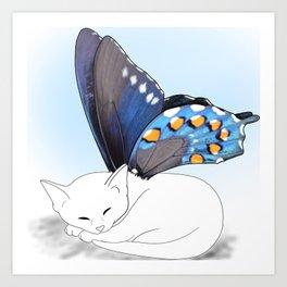 White Kitten Fairy Art Print