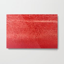 Crinkled Bold Red Foil Texture Christmas/ Holiday Metal Print