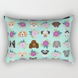Dogs and cats pet friendly floral animal lover gifts dog breeds cat ladies Rectangular Pillow