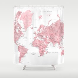 Light pink, muted pink and dusty pink watercolor world map with cities Shower Curtain