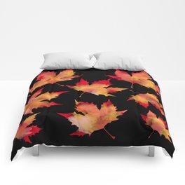 Maple leaves black Comforters