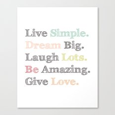 Inspiration Typography Quote Words Pastel  Canvas Print