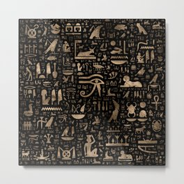 Ancient Egyptian hieroglyphs - Black and gold Metal Print