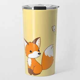 Cute Little Fox Watching Butterly Travel Mug